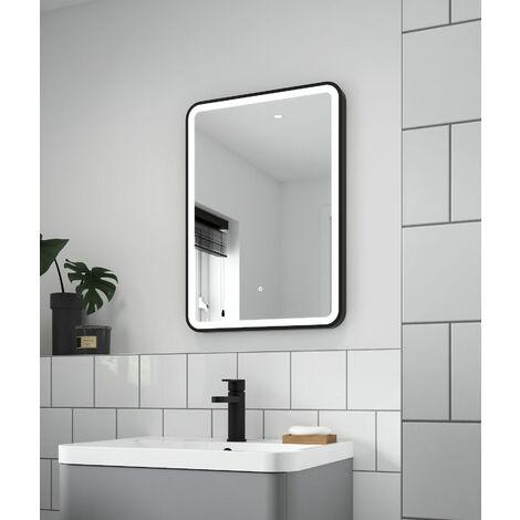 LED Bathroom Mirror Illuminated 700 x 500mm Black Frame Touch Sensor Demister