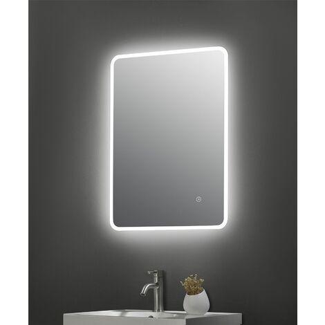LED Bathroom Mirror Illuminated 700 x 500mm Touch Sensor Demister Pad IP44 Mains