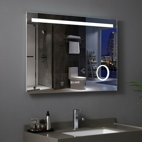LED Bathroom Mirror Illuminated with Light Touch Sensor and Demister Anti-Fog Wall Mounted