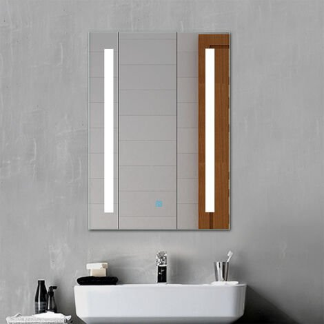 LED Bathroom Mirror Lighted Single Touch Control Wall Mount Vertical-500x700mm