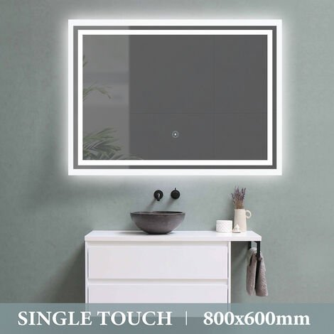 LED Bathroom Mirror Single Touch Control Illuminated with Demister 800X600mm UK Plug