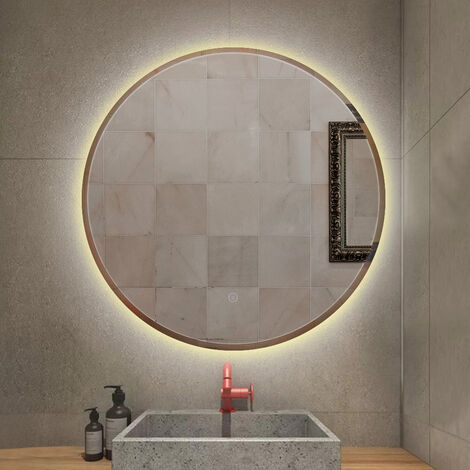 LED bathroom mirror with anti-fog warm white round touch light