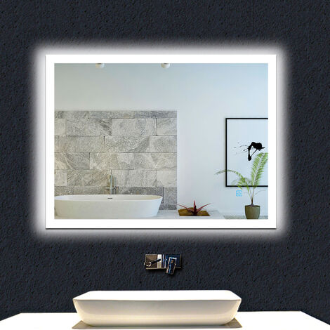 Led Bathroom Mirror with Demister Mains Power Touch Control Mains Power Vertical & Horizontal