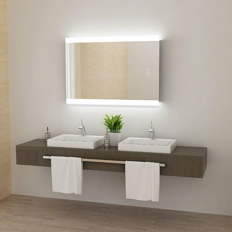 LED Bathroom Mirror with Light Touch Sensor and Demister Anti-Fog Wall Mounted