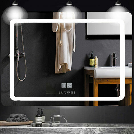 LED Bathroom Mirror with Light Touch Switch Demister Pad Mains Power Mirrors Horizontal - different size available