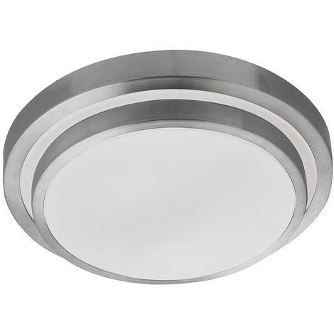 LED BATHROOM P44 2 TIER FLUSH, ALUMINIUM TRIM, WHITE SHADE