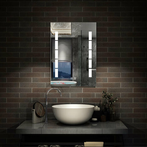 Led Bathroom Wall Mirror 45x60 50x70 60x80 | Control LED & Demister SEPARATELY