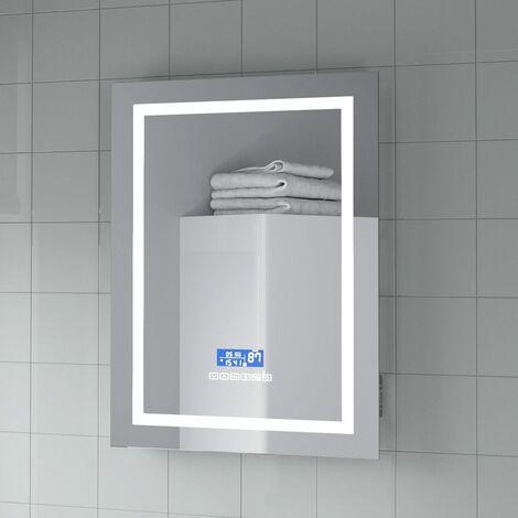 "main image of ""LED Bathroom Wall Mirror Bluetooth Clock Demister Pad Shaving Socket 700x500mm"""