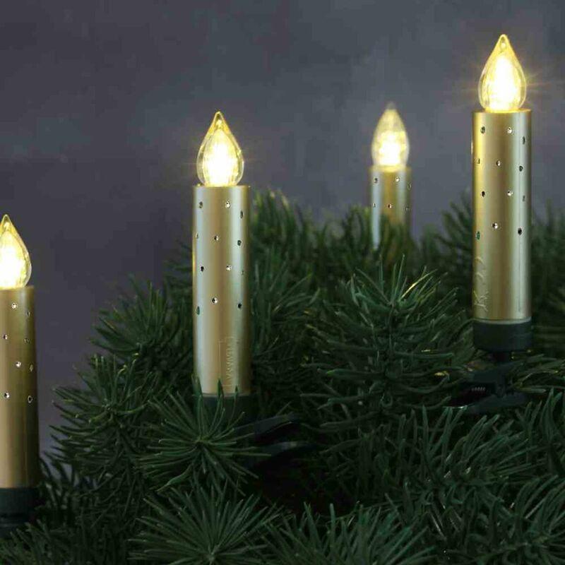 Image of LED Baumkerzenset Innen 20Stk gold Weihnachtsbaum Baumschmuck Kerzen Weihnachten - HG