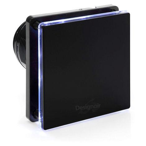 LED bleue de 4 pouces - Ventilateur de salle de bain en verre noir