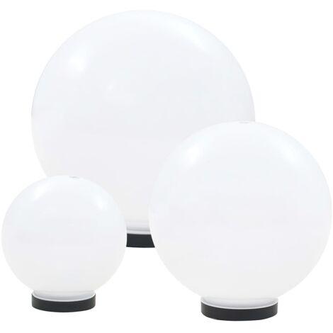 LED Bowl Lamp Set 3 Pieces Spherical 20/30/40 cm PMMA