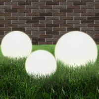 LED Bowl Lamp Set 3 Pieces Spherical 20/30/40 cm PMMA