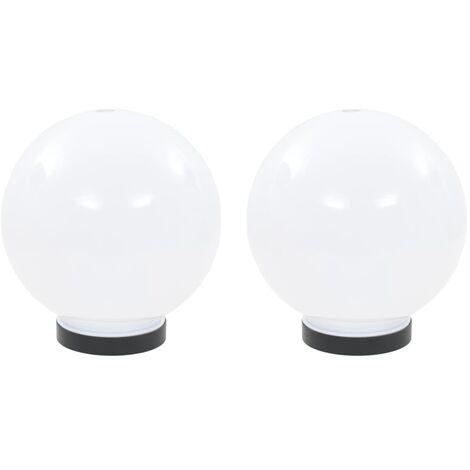 LED Bowl Lamps 2 pcs Spherical 20 cm PMMA
