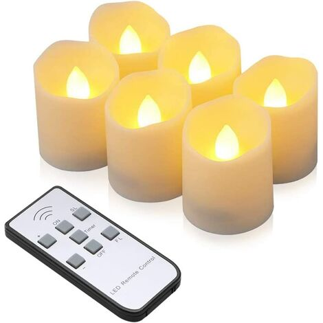 """main image of """"LED candles 6 flameless tea lights with remote control, timer function, dimmer, electric candle for Christmas, party, birthday (warm white)"""""""