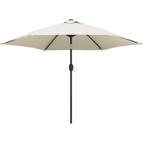 LED Cantilever Umbrella 3 m Sand White