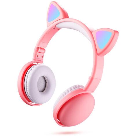 """main image of """"Led Cat Ear Headphones Rgb Color Bluetooth 5.0 Casques Antibruit Pliable Adultes Enfants Ecouteurs Avec Micro, Blanche"""""""