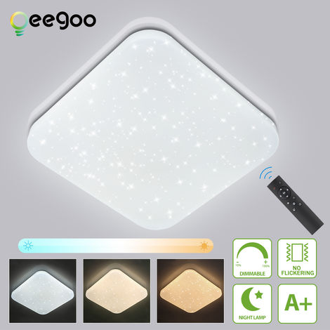 LED Ceiling Lamp Starry Sky Dimmable, Oeegoo 24W LED Ceiling Lamp with Remote Control, 1680LM LED Starlight with Star Decoration for Children's Room Living Room Bedroom Dining Room
