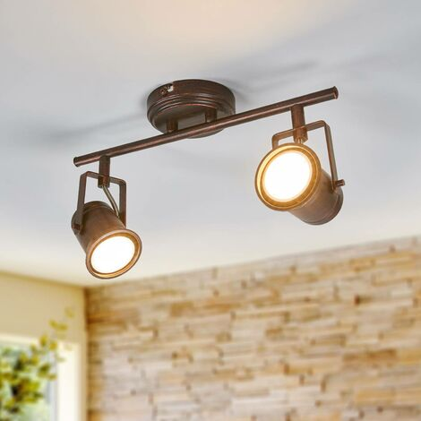 """main image of """"LED Ceiling Light 'Cansu') in Brown made of Metal (2 light sources, GU10, A+) from Lindby   floodlight, spotlight"""""""