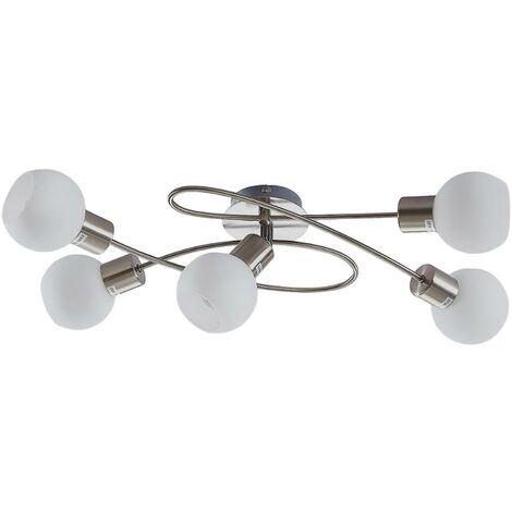 LED ceiling light Elaina, 5-bulb nickel matte