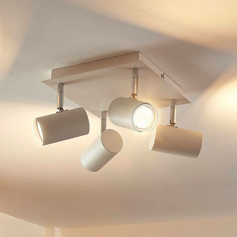"""main image of """"LED Ceiling Light 'Iluk' (modern) in White made of Metal (4 light sources, GU10) from Lindby 