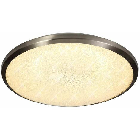 LED ceiling light IP44 Frosted 1 bulb Satin nickel 20 Cm