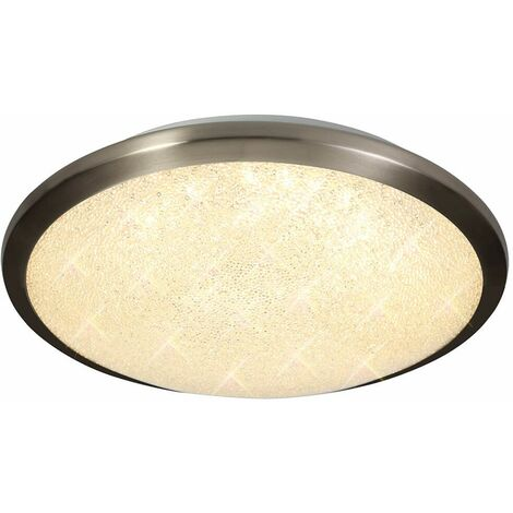 LED ceiling light IP44 Frosted 1 Bulb Satin nickel and crystalline
