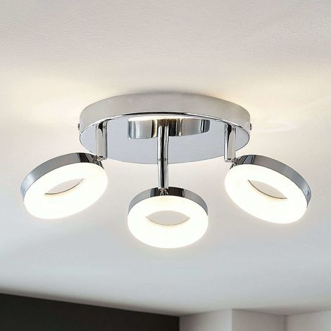 LED ceiling light Ringo, 3-bulb round