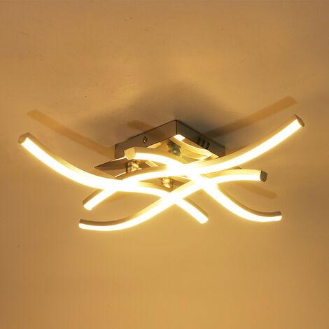 "main image of ""LED Ceiling Light, Suspension Wave-shaped Light Fixture, 4000K Neutral White Light, Integrated LED 24W 1100 Lumen, Modern Chandelier for Living Room or Kitchen, IP20 (White Light)"""