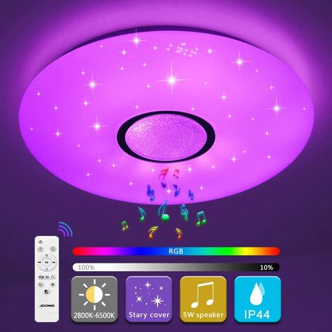 """main image of """"LED ceiling light with Bluetooth speaker and 36 W remote control, variable intensity, 2800-6500 K, waterproof IP44 (without control by app)"""""""