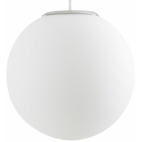 LED Ceiling Pendant Shade Frosted Glass Globe - B22 LED Bulb - Silver