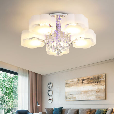 """main image of """"LED Crystal Ceiling Light Flower Chandelier Lamp With Remote, 5 Way"""""""