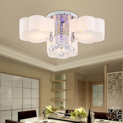 LED Crystal Ceiling Light Flower Chandelier Lamp With Remote, 7 Way