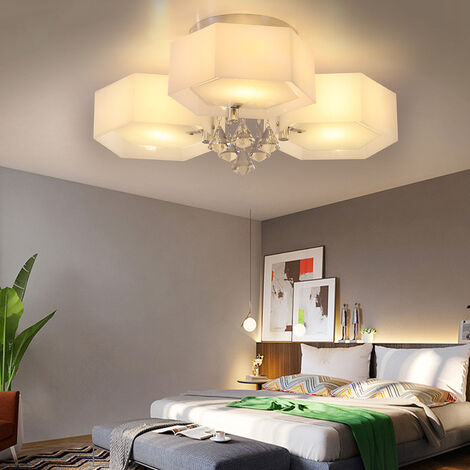 LED Crystal Ceiling Light Hexagon Chandelier Lamp With Remote, 3 Way