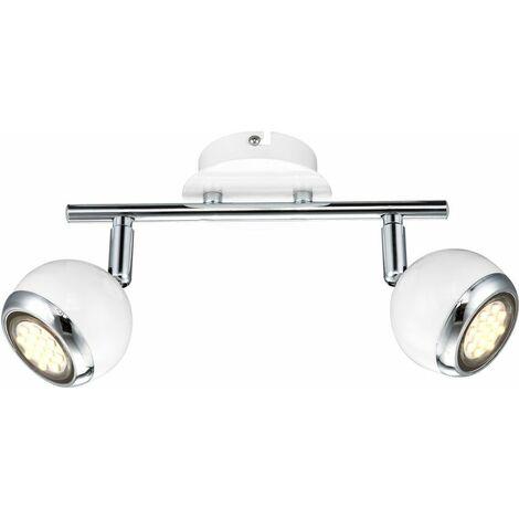 LED de 5 vatios Luz de techo Retro Metal Blanco Proyectores de pared Puntos 2 llamas Lámpara de techo Globo OMAN 57882-2