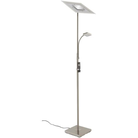 LED Deckenfluter Peters-Living 6473468 Standlampe Fernbedienung Nickel