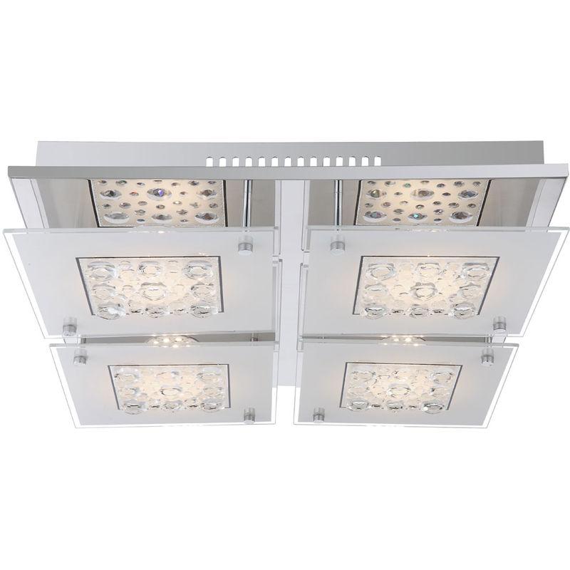 Globo - LED Decken Lampe Glas Kristall Wohn Ess Zimmer Leuchte Chrom Strahler 48175-30D