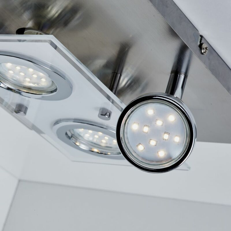 LED Deckenleuchte Matt Nickel 4 Flammig Drehbar Schwenkbar Eckig