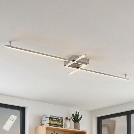LED Deckenleuchte aus Edelstahl dimmbar mit Fernbedienung für Wohnzimmer &  Esszimmer von Lampenwelt