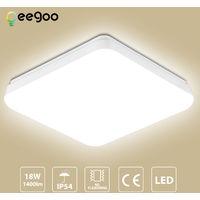 LED Deckenleuchte Badlampe, 18W 1400LM, Oeegoo IP54 Badezimmerlampe Bürodeckenleuchte, Flimmerfreie Deckenlampe für Bad Wohnzimmer Schlafzimmer Balkon Küche Korridor 4000K