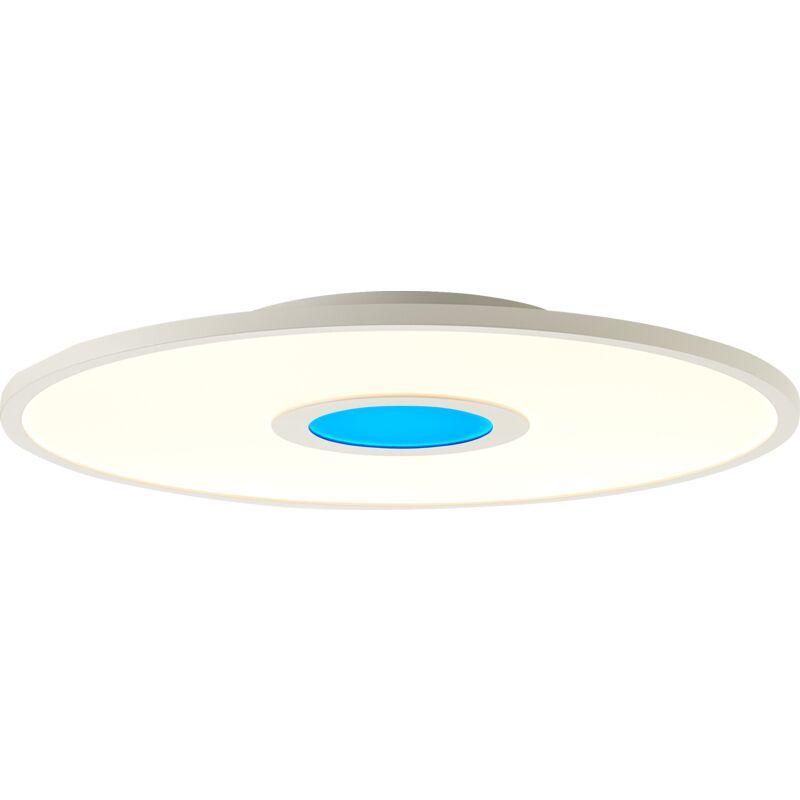 Lightbox - LED Deckenleuchte dimmbar, Ø45 cm, 24 Watt, mit RGB Akzentbeleuchtung per Fernbedienung steuerbar, 2700-6500 Kelvin; Metall/Kunststoff,