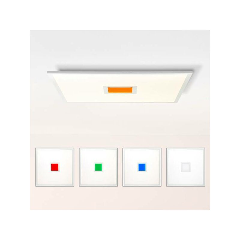 Lightbox - LED Deckenleuchte dimmbar, 60x60 cm, 37 Watt, mit RGB Akzentbeleuchtung per Fernbedienung steuerbar, 2700-6500 Kelvin; Metall/Kunststoff,