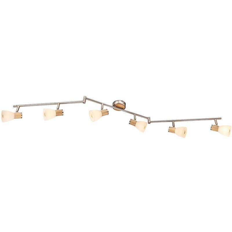 Etc-shop - Decken Strahler Wohn Ess Zimmer Glas Spot Leiste Holz Leuchte beweglich Set inkl. LED Leuchtmittel
