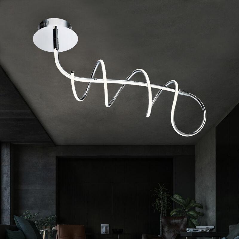 Globo - LED Decken Leuchte Wohn Ess Zimmer Chrom Spiral Strahler Lampe geschwungen 67823-30D1