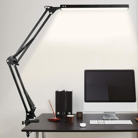 """main image of """"LED desk lamp, 10W folding architect table lamp with clamp, metal swivel arm, attenuation and adjustable color temperature (black)"""""""