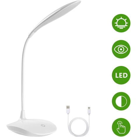 LED Desk Lamp, Led Book Reading Light with USB Cable, 15 LEDs, 3 Brightness Levels, Flexible 360, 1200mAh, Touch Control, Eye Protection, For Learning, Reading