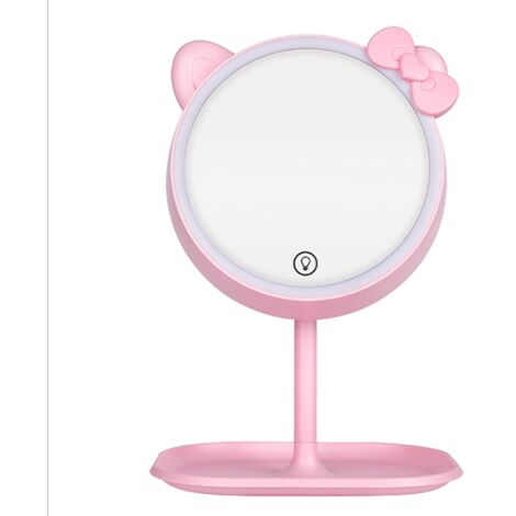 LED Desk Lamp, Makeup Mirror with Desk Lamp Type, Beauty Makeup Light Small Mirror Office Dormitory Folding Portable Vanity Mirror, Office Lamp-
