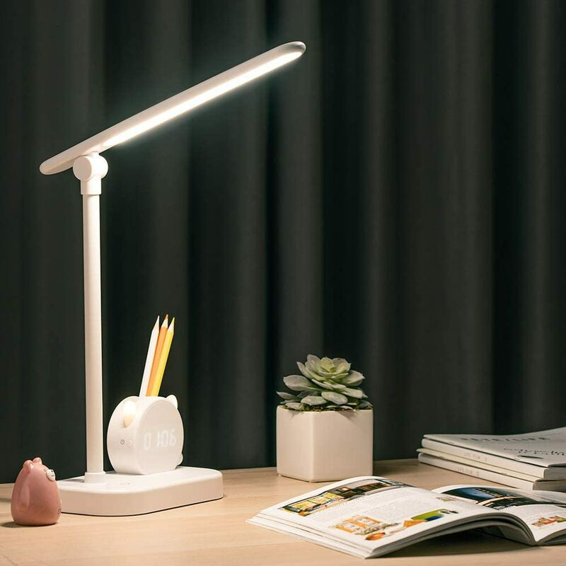 Led Desk Lamp, Rechargeable Eye Caring 5400mAh Touch Control 3 Color Modes USB Charging Port Lamps with Pen Holder&Clock