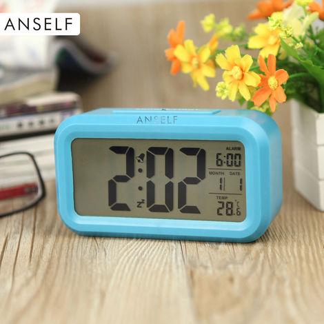 LED digital despertador, repeticion de sensor, Tiempo activado por luz Snooze Fecha visualizacion de temperatura, Azul