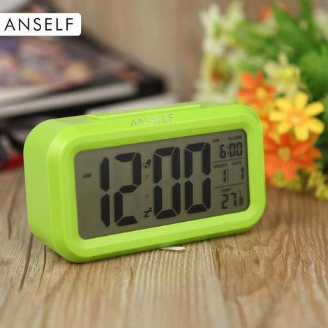 LED digital despertador, repeticion de sensor, Tiempo activado por luz Snooze Fecha visualizacion de temperatura, Verde