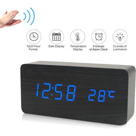 LED digital electronico de alarma de madera reloj de tiempo / temperatura / Fecha visualizacion del reloj de escritorio 3 niveles de brillo Control de voz de carga USB o de alimentacion de la bateria, Negro, azul claro
